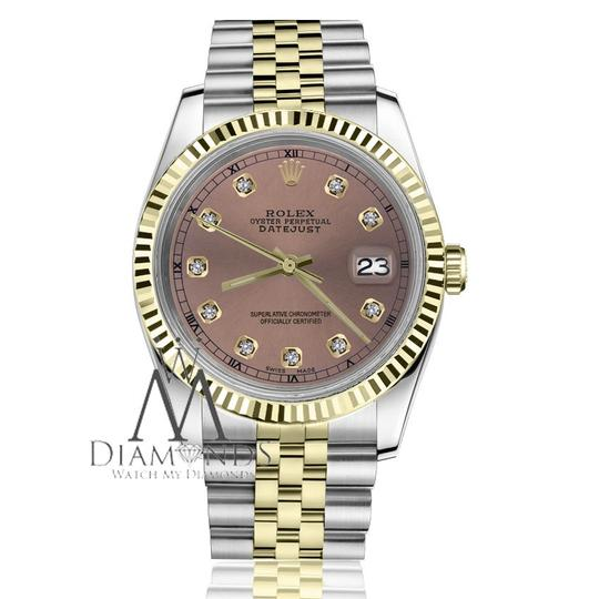 Rolex Women's 31mm Datejust2Tone Salmon Color Dial with Diamond Accent RT