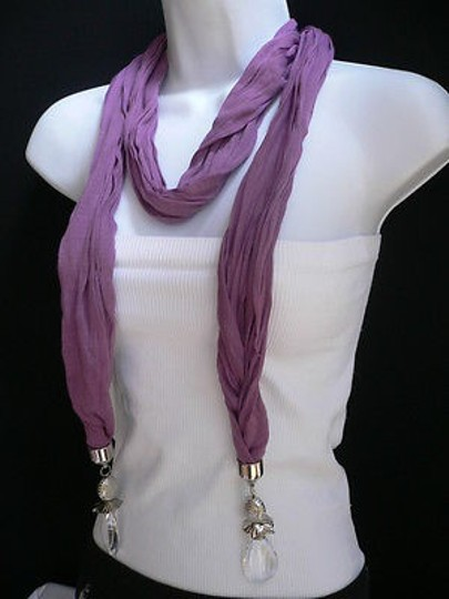 Other Women Purple Fashion Hot Soft Scarf Necklace Two Flower Pendants Ends