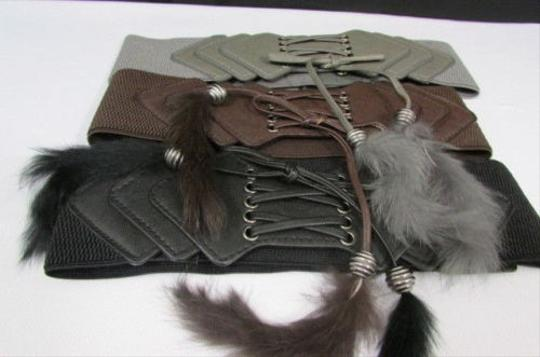Other Women Elastic Faux Fur Fashion Corset Belt 28-37 Brown Black Gray