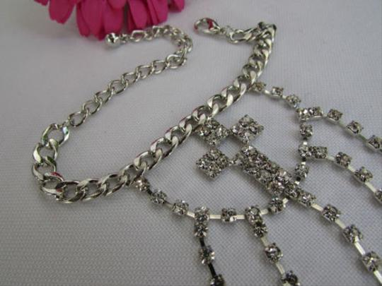 Other B Women Silver Hand Chains Bracelet Fingers Slave Cross Silver Rhinestones