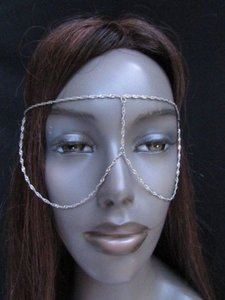 Women Silver Metal Mask Long Head Chain Fashion Jewelry Sunglasses Eye Cover