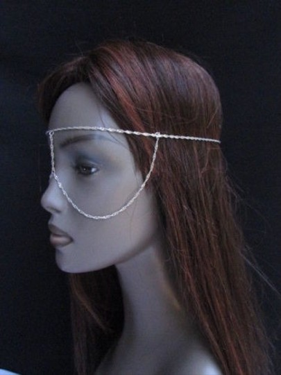 Other Women Silver Metal Mask Long Head Chain Fashion Jewelry Sunglasses Eye Cover