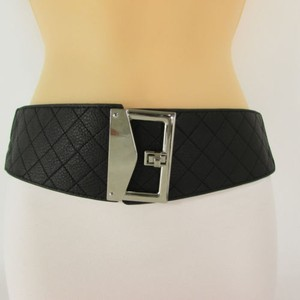 Other Women Belt Elastic Black Brown Wide Quilted Hip High Waist