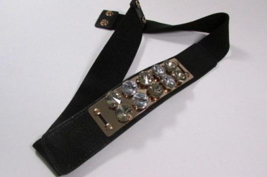 Other Women Fashion Belt Black Elastic Gold Metal Plate Big Rhinestones 27-35