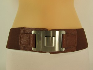 Other Women Belt Elastic Black Brown Silver Buckle Hip High Waist Fashion