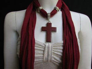 Women Red Wine Soft Fashion Scarf Necklace Silver Big Cross Pendant
