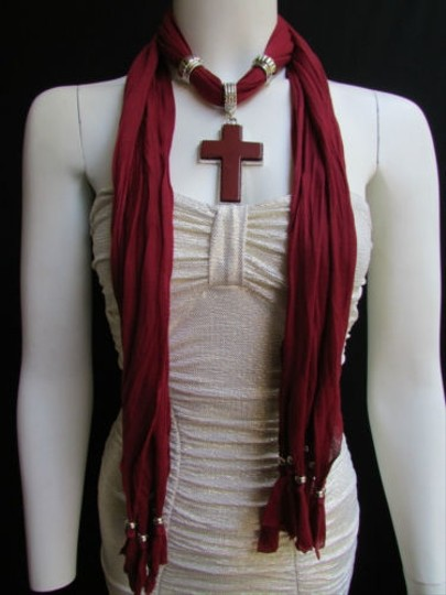 Other Women Red Wine Soft Fashion Scarf Necklace Silver Big Cross Pendant