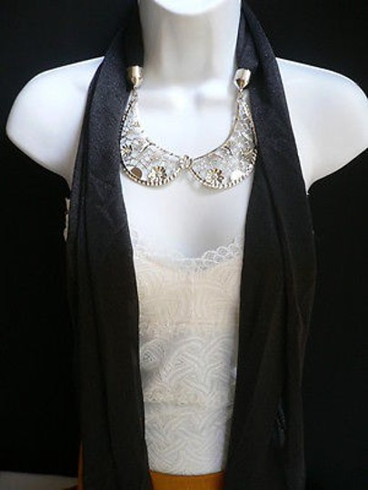 Other Women Black Fashion Scarf Necklace Silver Metal Flowers Collar Pendant