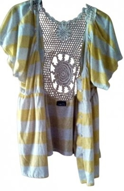 Rue 21 Crochet Button Up Flutter Sleeves Top Yellow and White Stripes