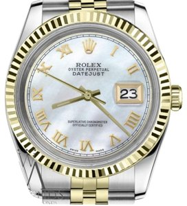 Rolex Women's 31mm Datejust2Tone White MOPMother Of Pearl Roman Numeral Dial