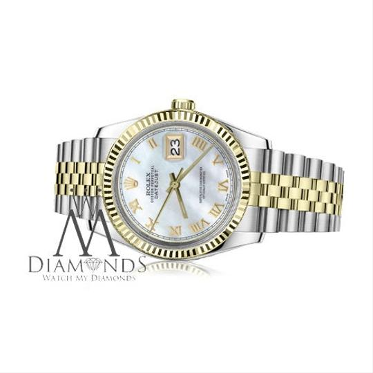 Rolex Men`s 36mm Datejust2Tone White MOP Mother Of Pearl Roman Numeral Dial