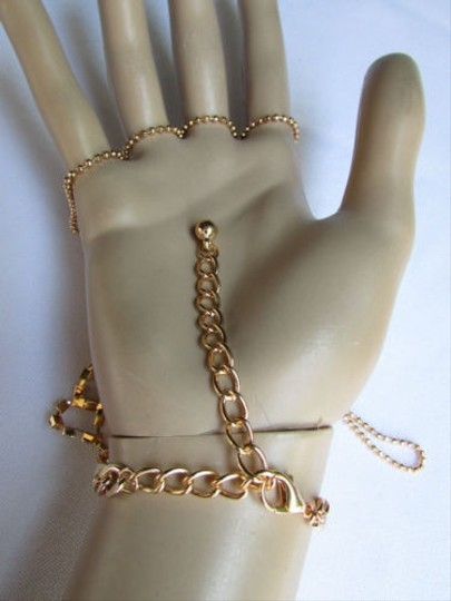 Other Women Gold Hand Chains Bracelet Long Fingers Ring Slave Silver Rhinestones