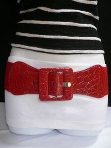 Other Women Elastic Red Fashion Belt Hip High Waist Square Buckle 26-40 Xs-xl