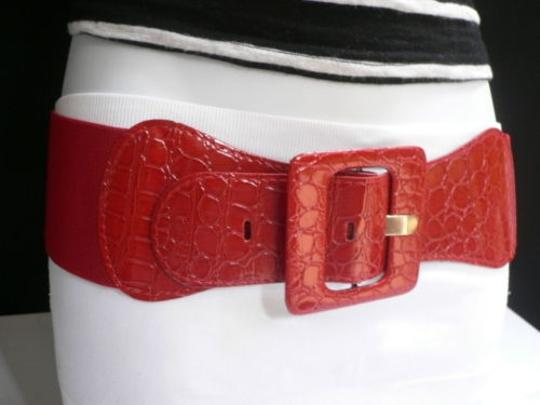 Other Women Red Belt Hip High Waist Square Buckle