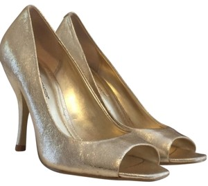 BCBGeneration Metallic Peep Toe Gold Pumps