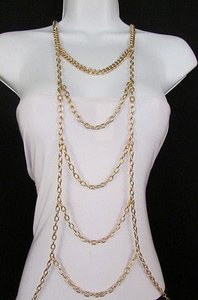 Other Women Gold Body Chain Full Frontal Long Necklace Fashion Trendy Jewelry