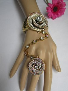 Women Gold Slave Ring Bracelet Silver Rhinestones Rose Swirl Flower Ring