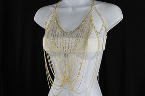 Women Gold Body Chain Beaded Full Front Necklace Fashion Trendy Jewelry