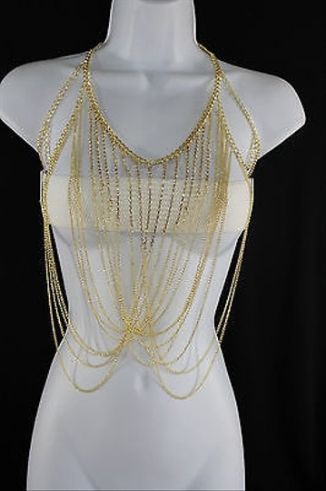 Other Women Gold Body Chain Beaded Full Front Necklace Jewelry