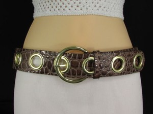 Other Women Hip Waist Brown Faux Leather Fashion Belt Crocodile Stamp 30-36