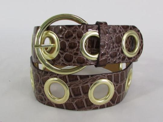 Other Women Hip Waist Brown Leather Belt Crocodile Stamp 30-36