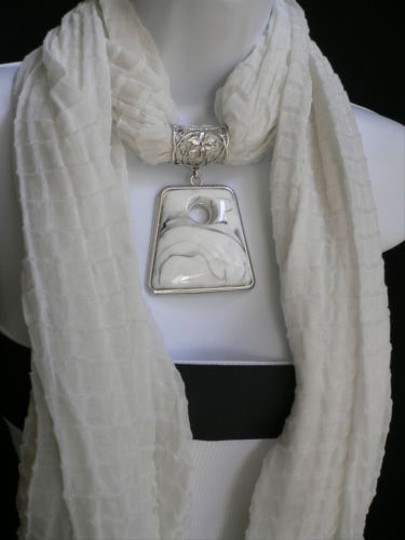 Other Women White Poofy Soft Fashion Scarf Necklace Big Square Bead Pendant