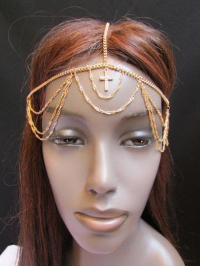 Other Women Gold Front Cross Metal Wave Head Chains Fashion Jewelry Silver Rhinestones