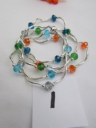 Other Women Silver Green Blue Orange Elastic Bracelet Beads Jewelry Strands Anklets