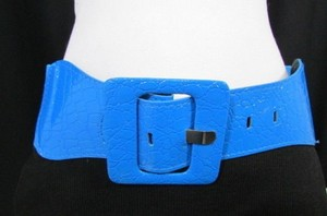 Other Women Hip Elastic High Waist Bright Blue Fashion Belt Square 26-35