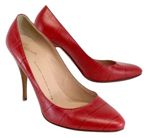 Giusippe Zanotti Red Leather Textured Pumps