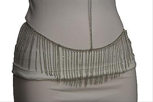 Other Women Silver Multi Fringe Over Chains Body Jewelry Long Necklace