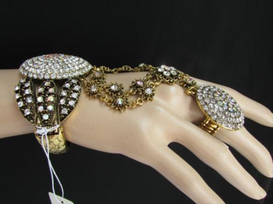 Other Women Antique Gold Slave Bracelet Rhinestones Big Circle Flowers Ring