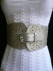 Women Wide Western Hip High Waist Silver Buckle Metals Belt 26-35