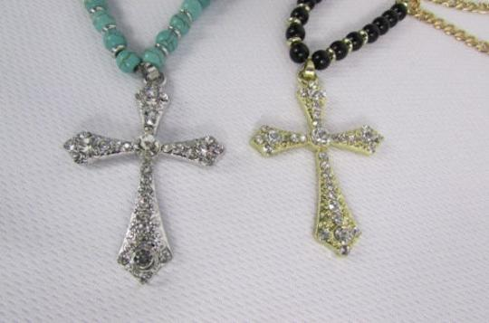 Other Women Fashion Necklace Metal Cross Rhinestones Silver Turquoise Gold Black