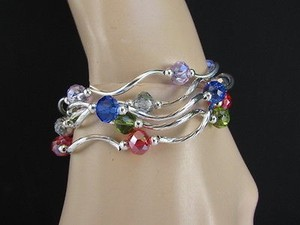 Women Bangles Bracelets Silver Red Blue Green Lavander Beads Fashion Jewelry