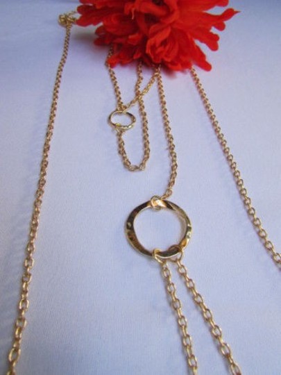 Other Women Gold Body Thin Chain Circles Long Necklace Rings Fashion Beach Jewelry