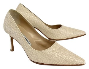 Manolo Blahnik Cream Woven Pointed Toe Pumps