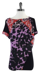Versace Black Purple Printed Draped T Shirt