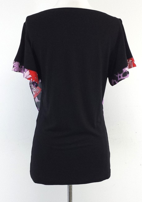 Versace Black Purple Printed Draped T Shirt Multi