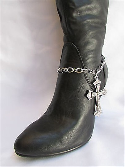 Other Women Silver Boot Chain 1 Strap Big Rhinestones Cross Western Shoe Charm 2