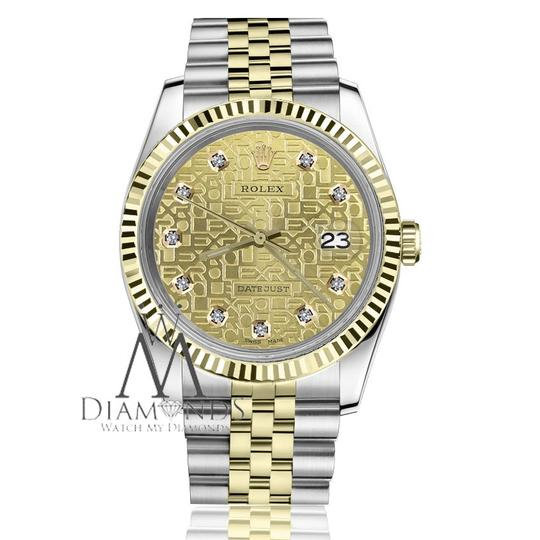 Rolex Men's 36mm Datejust 2 Tone Diamond Dial with Champagne Gold Jubilee
