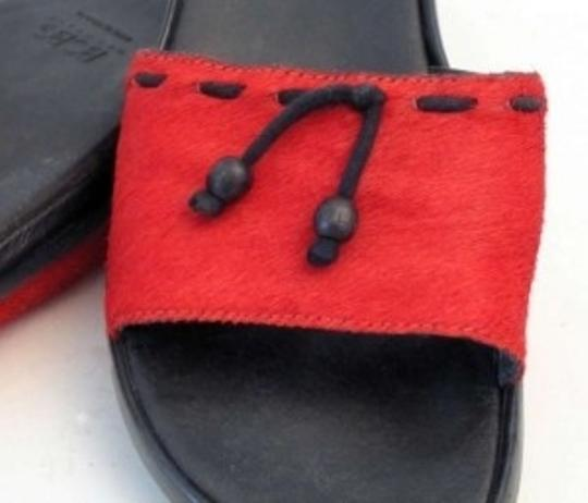 BCBGMAXAZRIA Fur Slide Leather Inner Rubber Sole Red Sandals