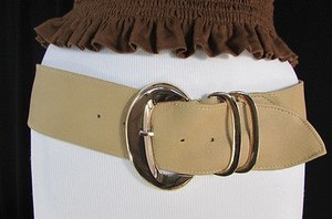 Women Beige Faux Leather Fashion Belt Gold Buckle Hip Waist 33-37