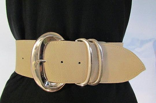 Other Women Beige Faux Leather Fashion Belt Gold Buckle Hip Waist 33-37