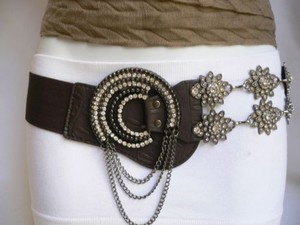 Women Elastic Brown Belt Silver Flowers Rhinestones Chains Moon Buckle