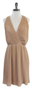 Halston short dress Beige Pleated Sleeveless on Tradesy