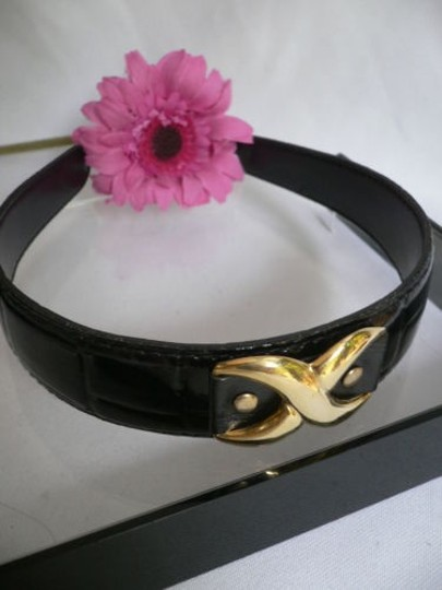 Other Women Fashion Headband Black Faux Patent Leather Big X Top Gold Hair Head Piece