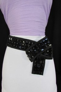 Women Black Fabric Big Bow Plastic Shinny Studs Fashion Belt Side Hip