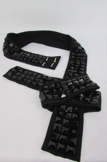 Other Women Black Fabric Big Bow Plastic Shinny Studs Fashion Belt Side Hip