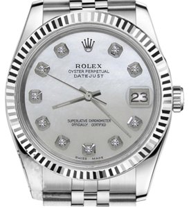 Rolex Women`s 26mm Datejust White MOP Mother Of Pearl Dial with Diamond